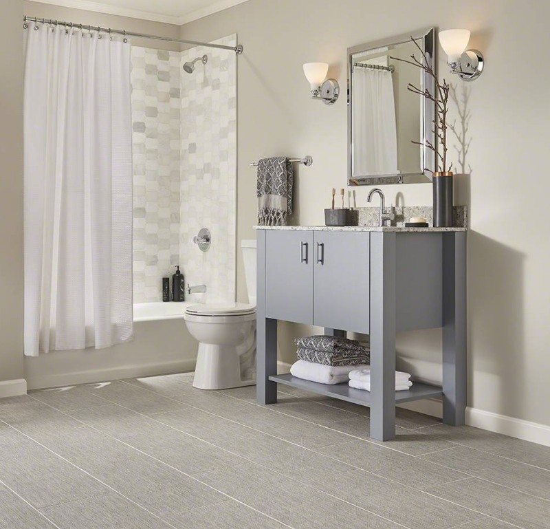 gray toned bathroom with fabric tile in ivory