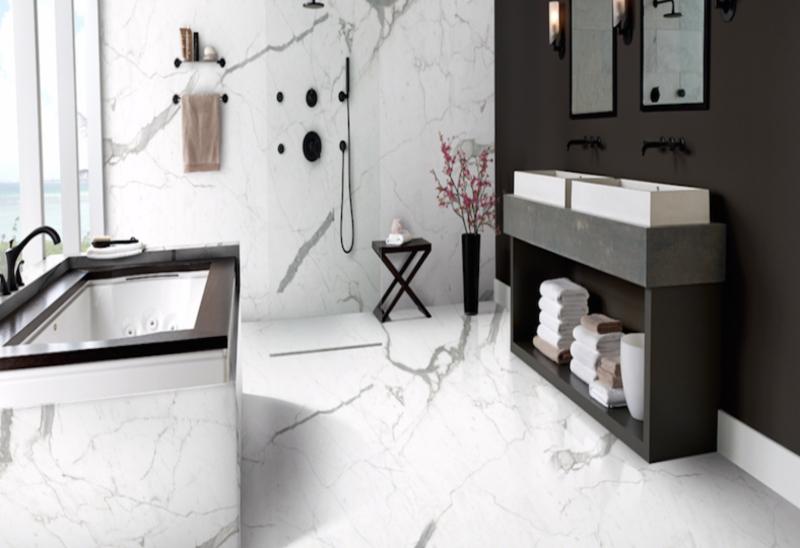 porcelain slab in bathroom