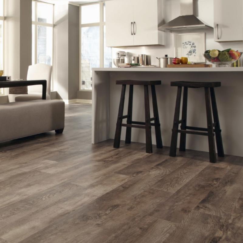 kitchen wood look flooring with kitchen island
