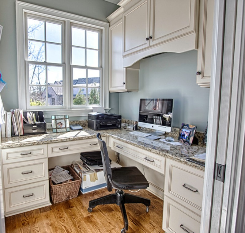 bright and sunny office with granite desk
