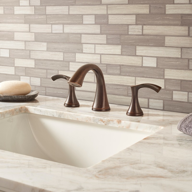 soft gray and cream glass tile for the bathroom