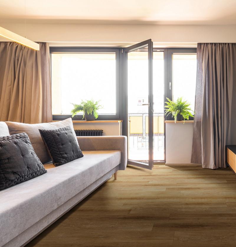abingdale seaside living room with wood look vinyl flooring