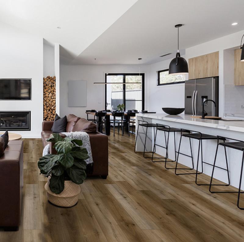 blythe nature inspired modern dining room with vinyl tile