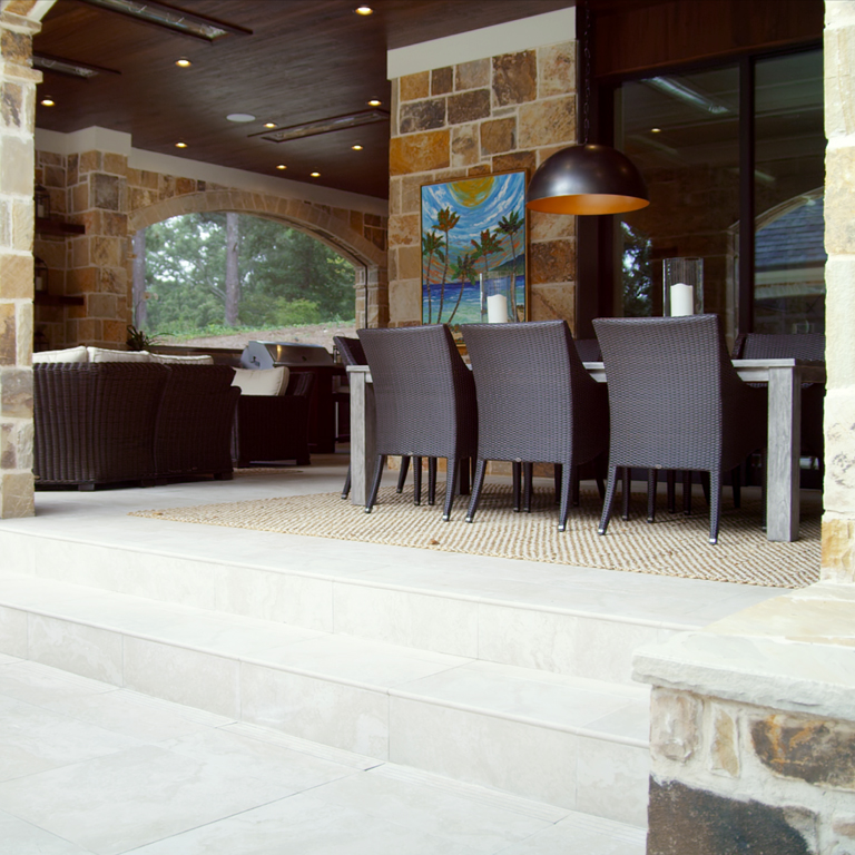 outdoor living area with porcelain tile