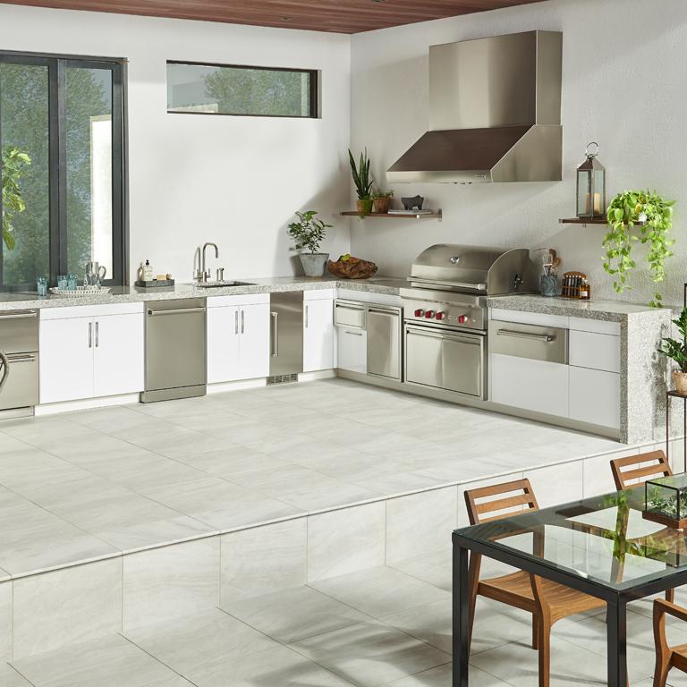 outdoor kitchen with granite countertops