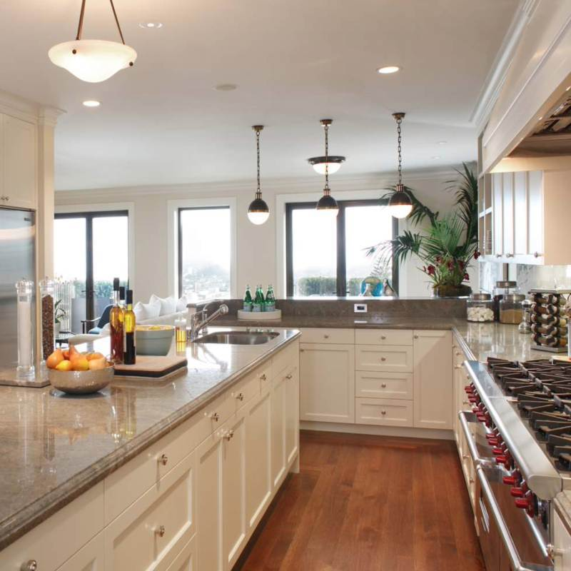 kitchen with a lot of sunlight and granite countertop