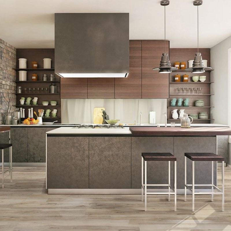 working kitchen with vinyl tile flooring