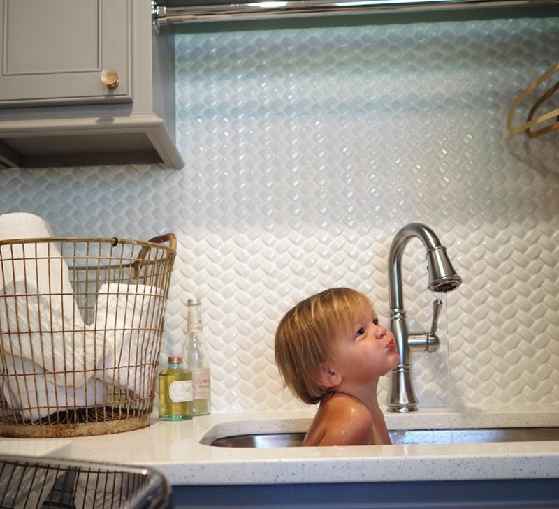 herringbone white 3D backsplash tile