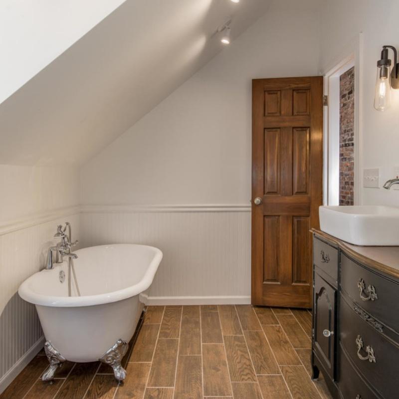 luxurious wood look lvt flooring in the bathroom