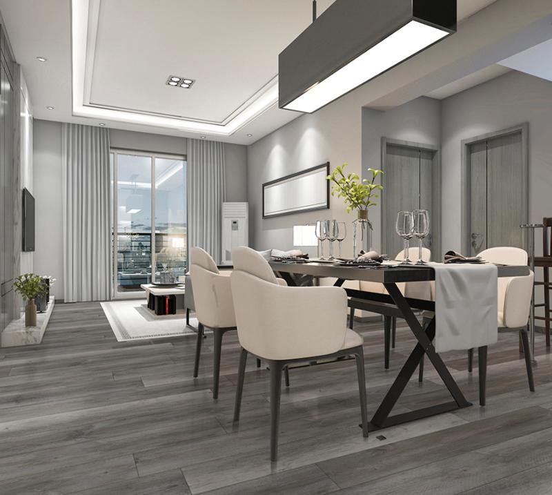 ash grey and modern vinyl tile flooring dining room