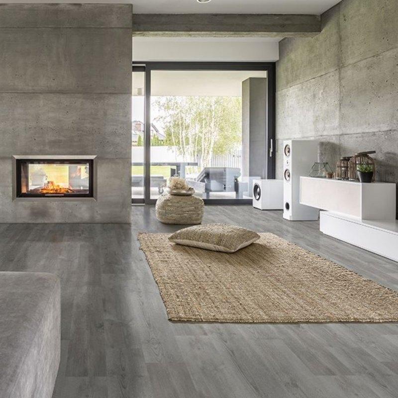 floor to wall grey vinyl tile living room