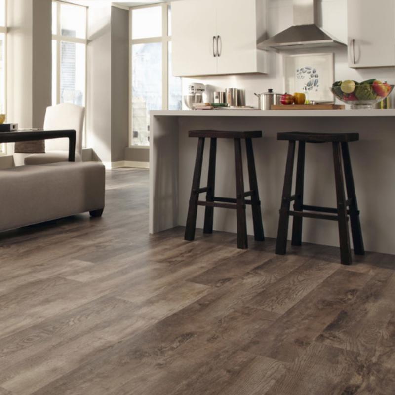 wood look flooring with kitchen island