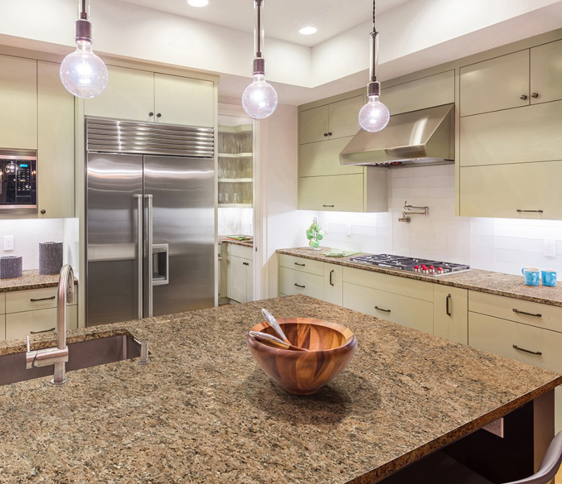 modern retro kitchen with granite counter