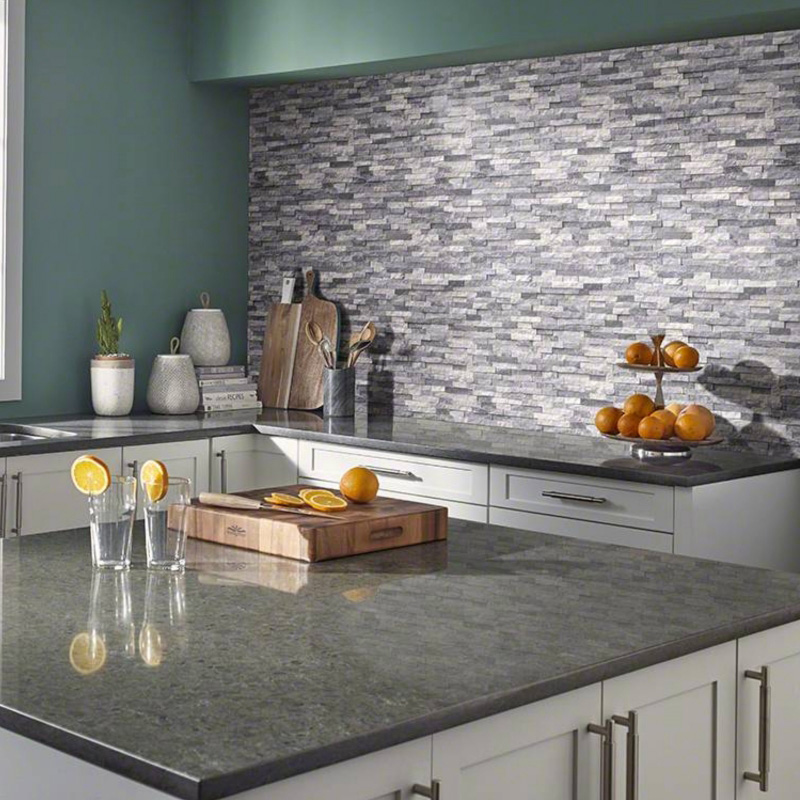 natural stone feature wall in kitchen