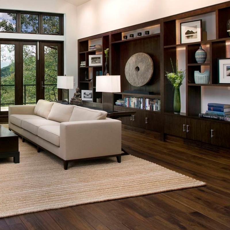 cherry wood living room with lvt flooring
