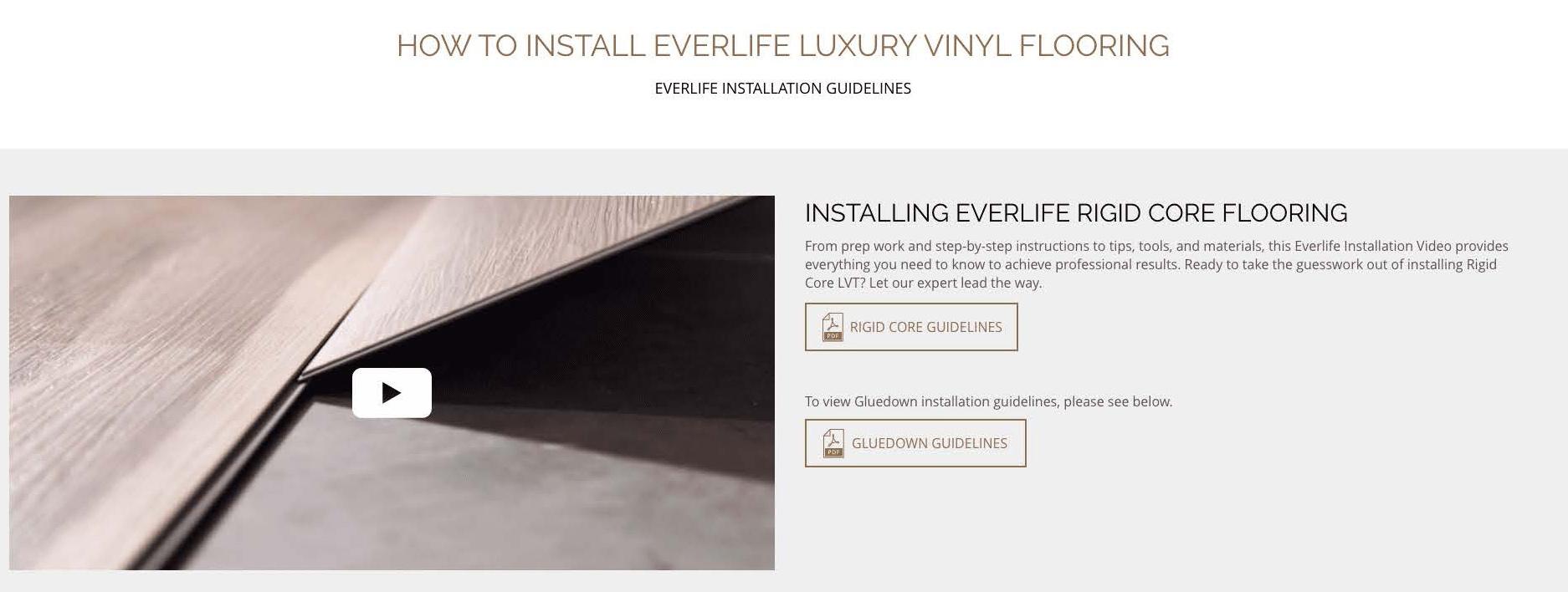 Everlife vinyl flooring installation video