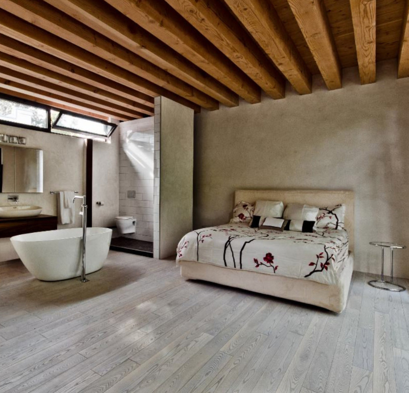 porcelain wooden plank tile flooring bedroom