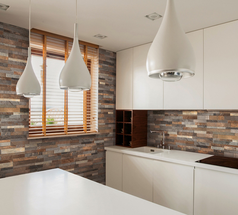 Frocky Gold Minimalist Kitchen With Stacked Stone Wal