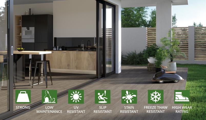 indoor outdoor functional porcelain tile