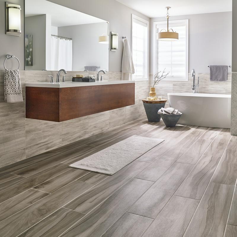 gorgeous porcelain plank flooring in kitchen