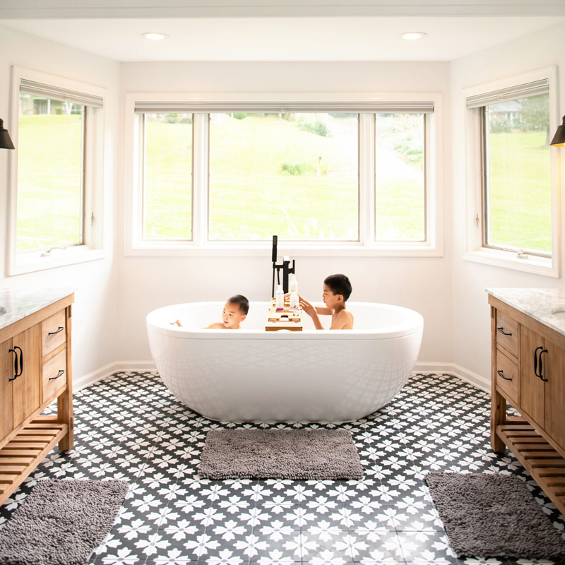 stunning patterned porcelain flooring in bathroom