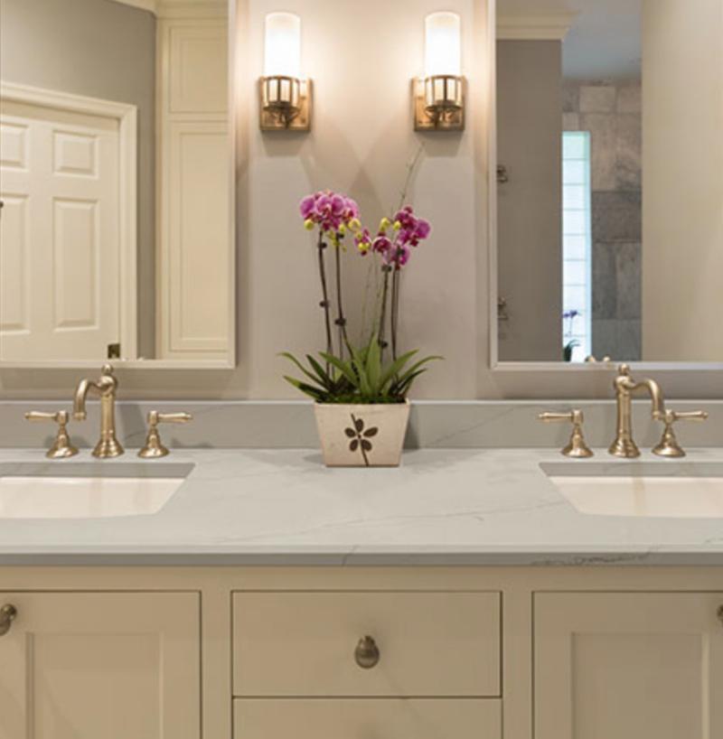 quartz countertop double sink bathroom