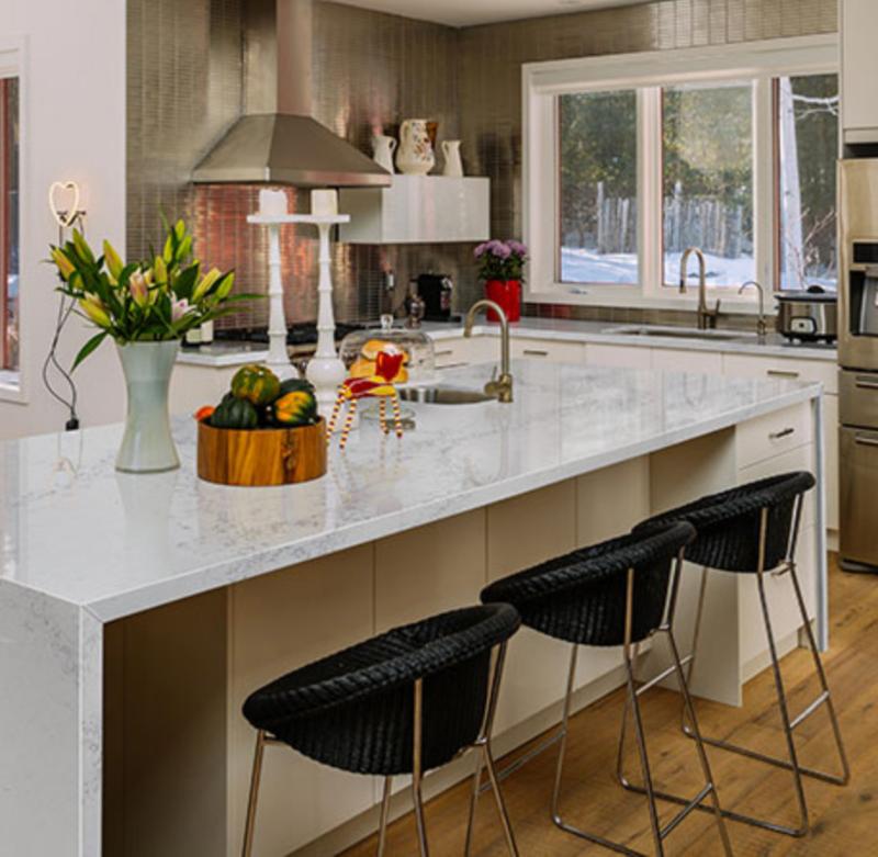 veined marble look quartz kitchen