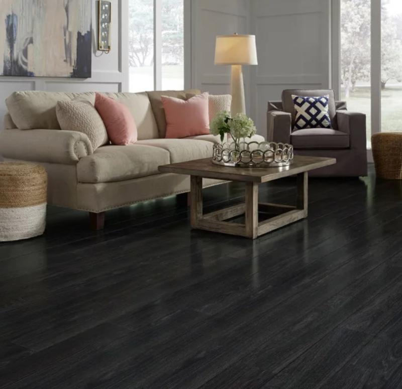 black wood look tile floor