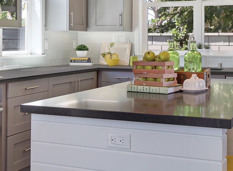 solid dark quartz countertop