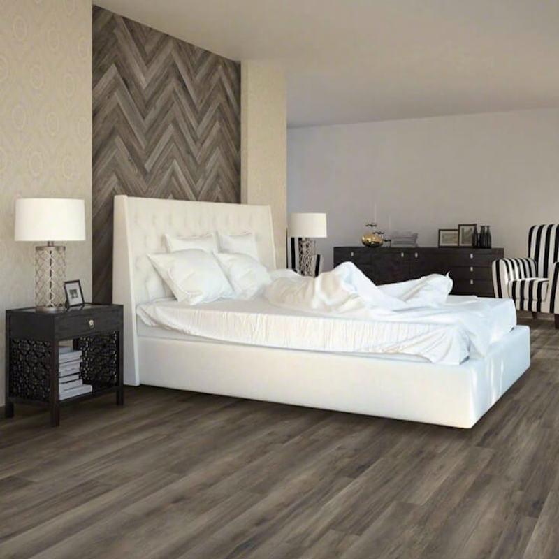 wood look porcelain tile on bedroom floor and wall