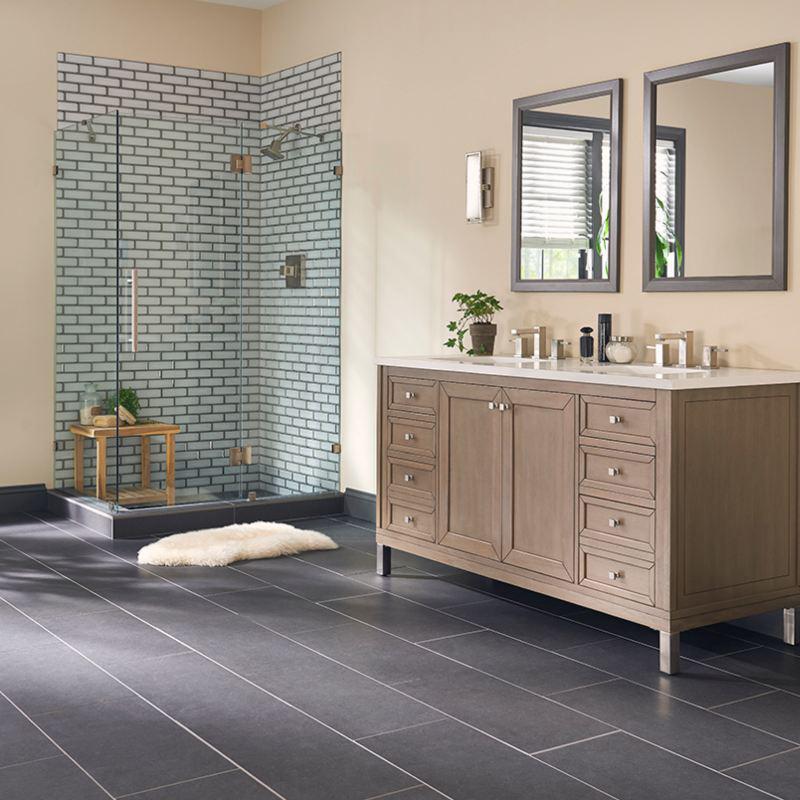 glass tiled shower