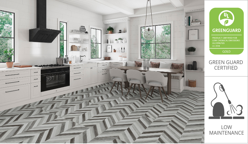 geometric porcelain tile floor
