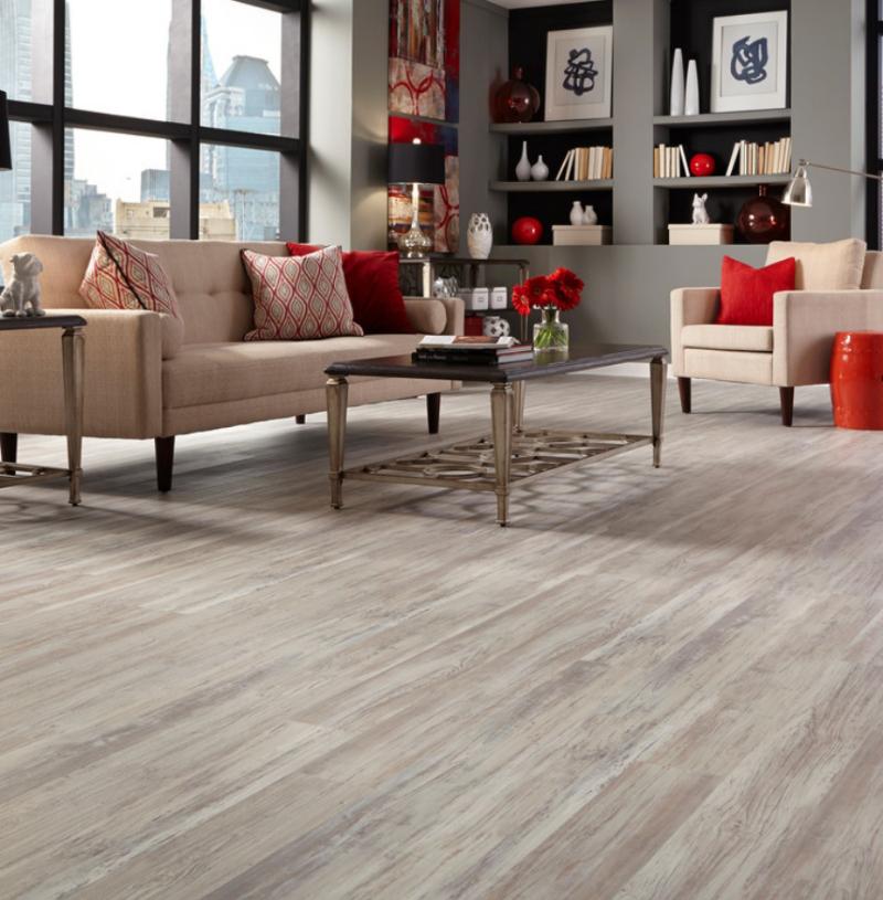 living room with luxury vinyl plank tile