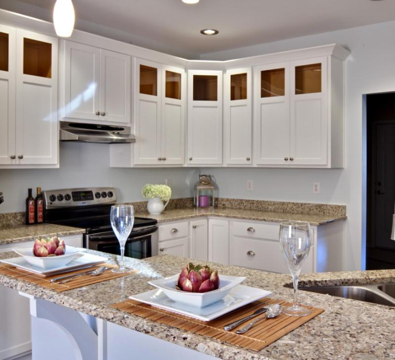 small kitchen with granite