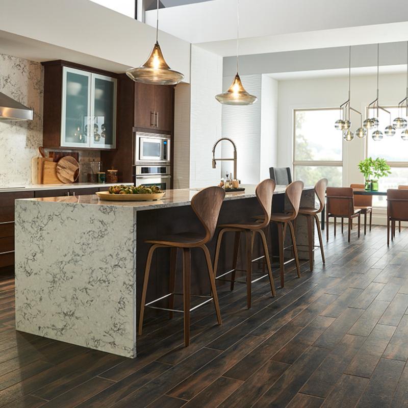 kitchen with wood look porcelain tile floor