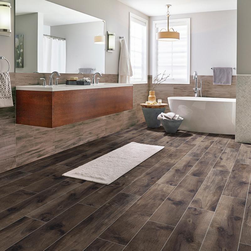 wood look tile floor in bathroom