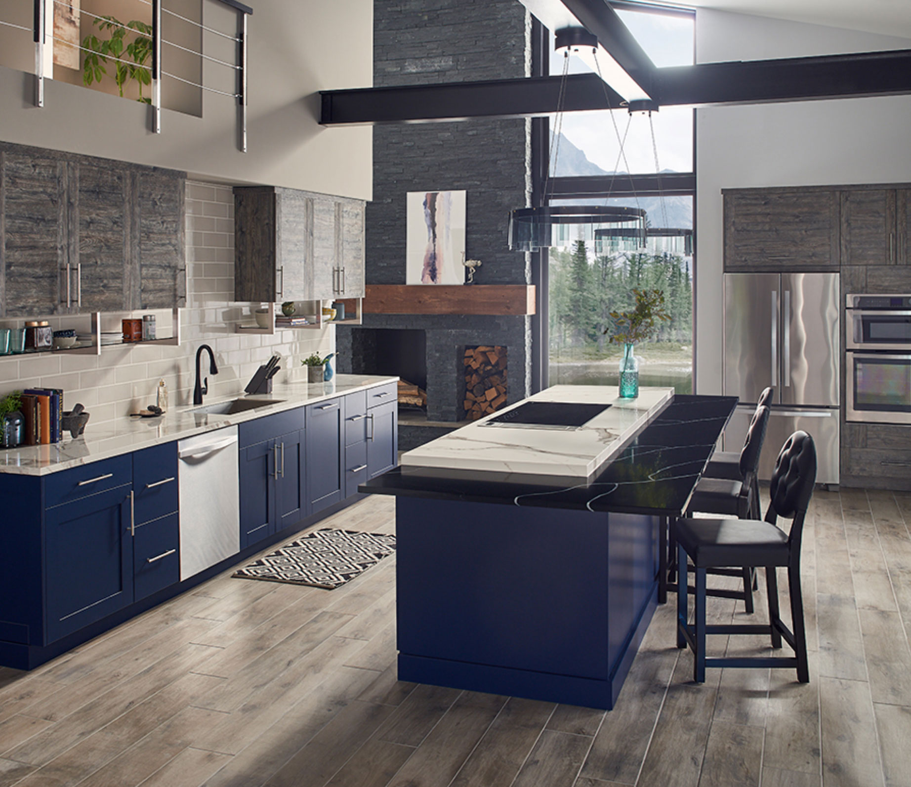 gorgeous kitchen with wood look tile floor