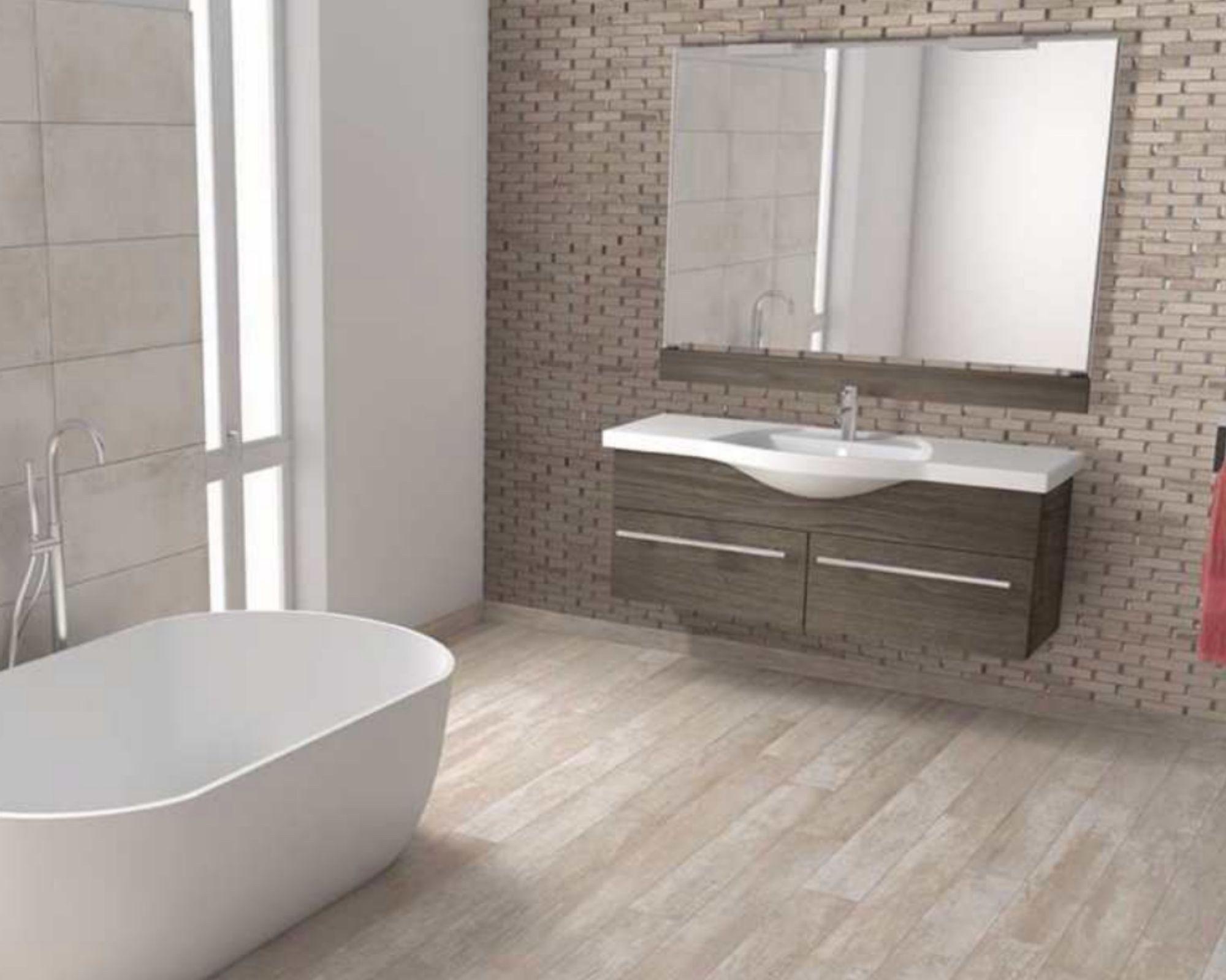 gorgeous bathroom glass and stone backsplash