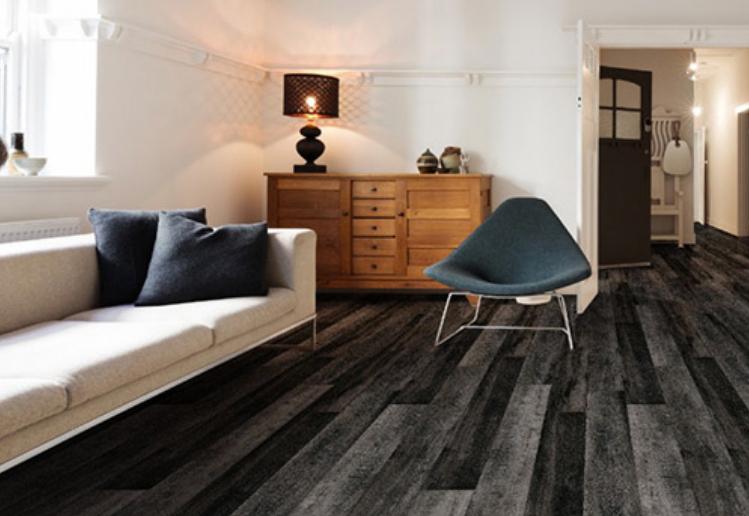 dark gray vinyl plank flooring