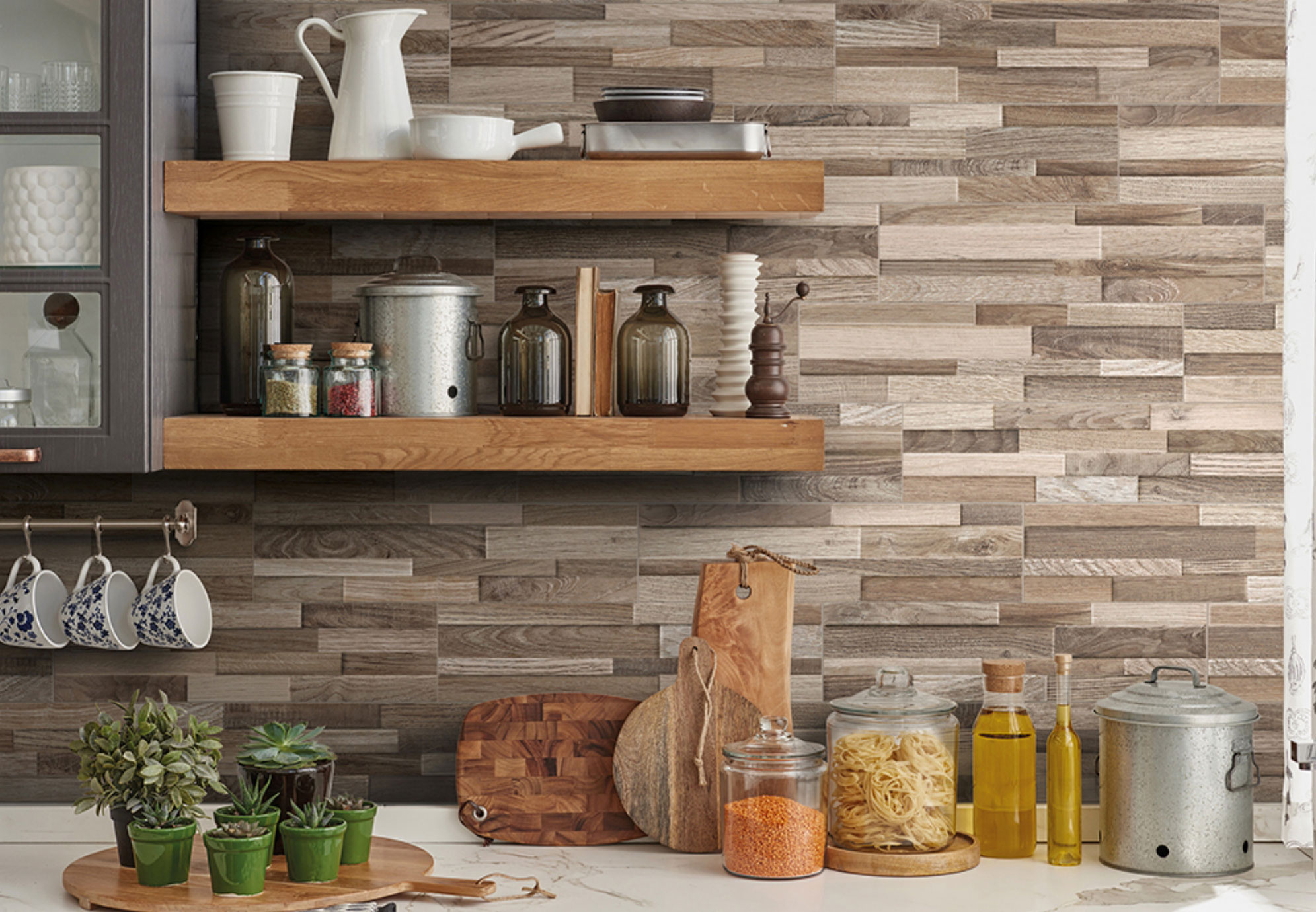 gorgeous stacked stone wall panels in the kitchen