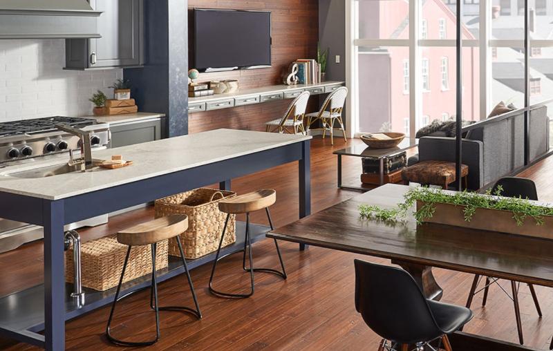 modern kitchen with a quartz countertop island