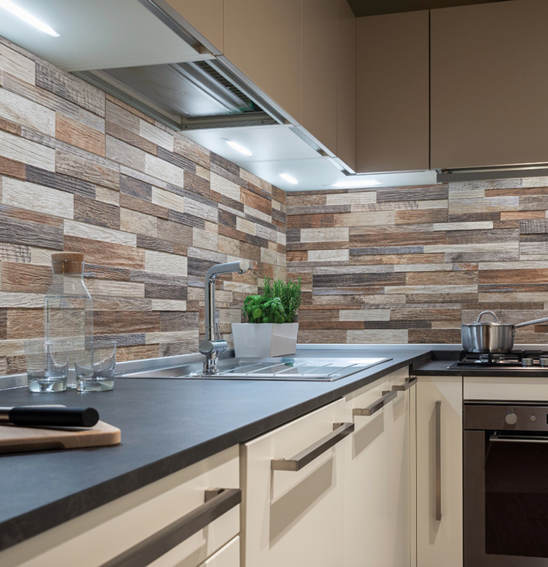 multi colored stacked stone wall panels