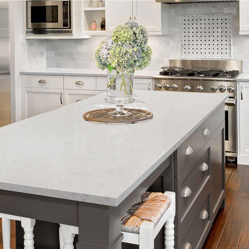 beautiful kitchen island with quartz countertop