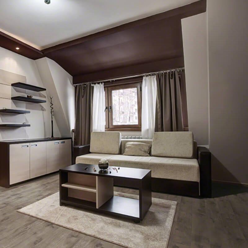 living room with wood look tile floor