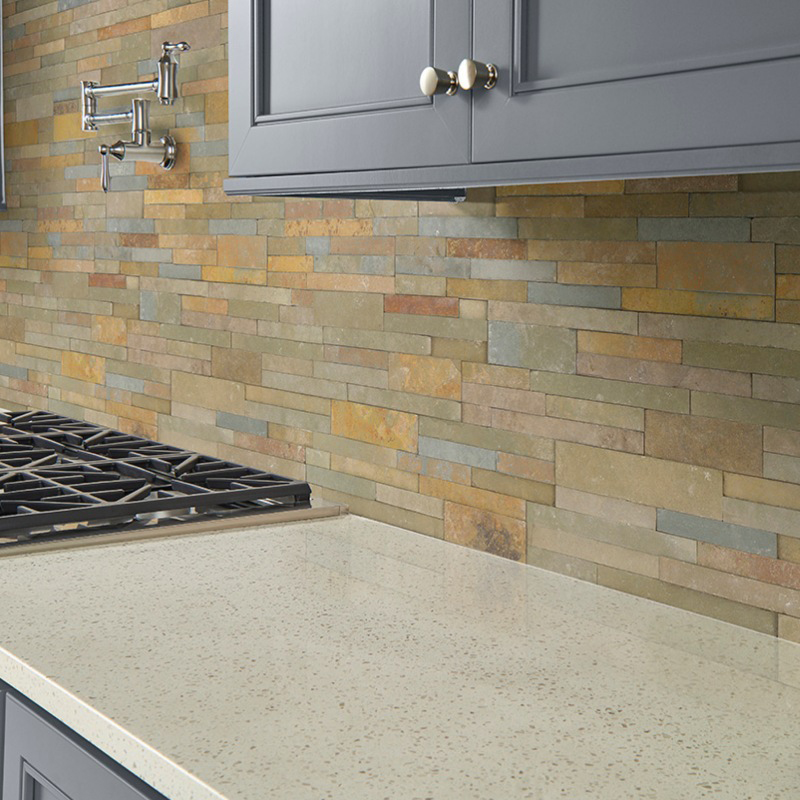 light colored stacked stone panels