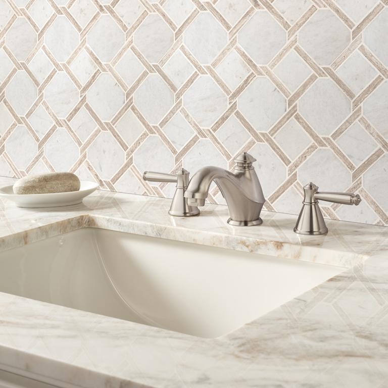 fancy bathroom backsplash