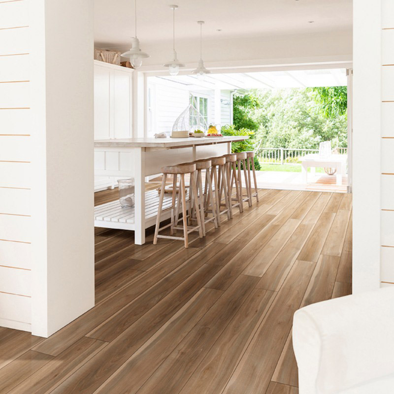 Cream And Clean Kitchen With Blonde Vinyl Tile Flooring