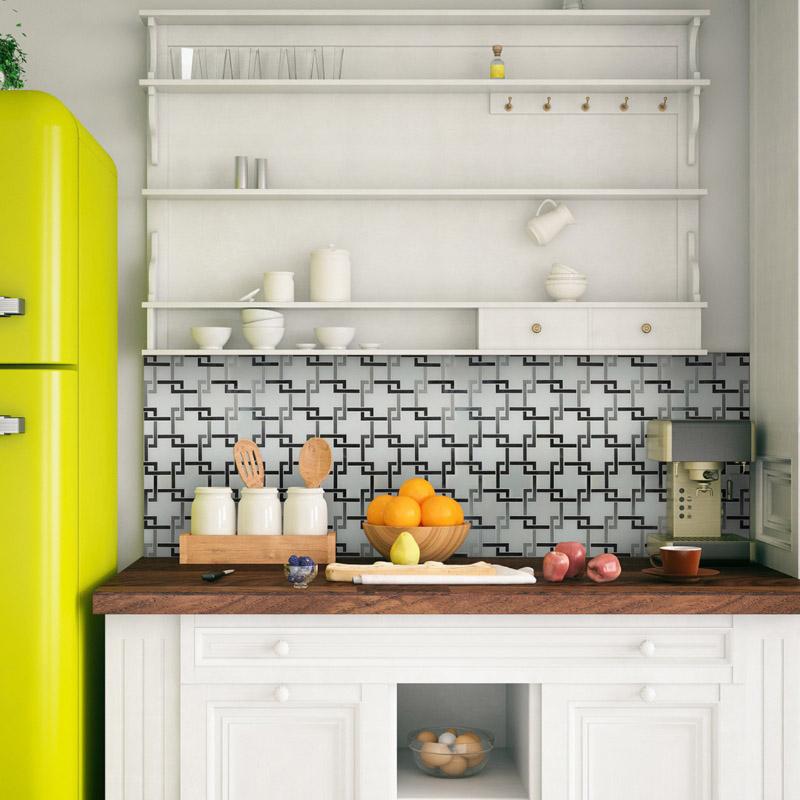 retro chic kitchen backsplash