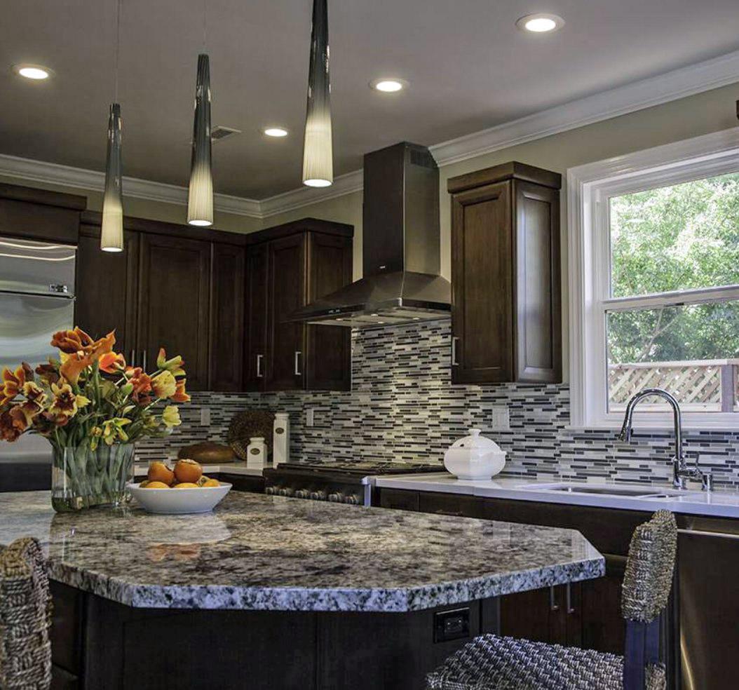 blue flower granite kitchen countertop