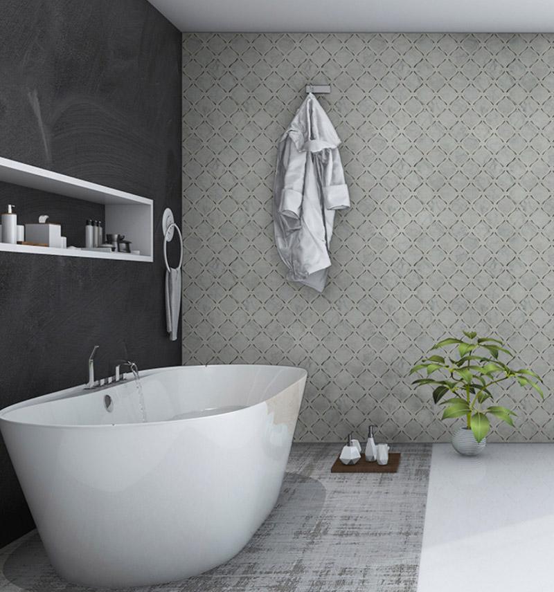 mosaic tiled bathroom